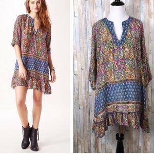 Tolani Ginger Dress Blue/Multi Paisley Print Silk